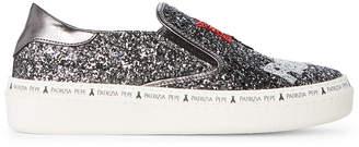 Patrizia Pepe Toddler/Kids Girls) Dark Grey Glitter Slip-On Sneakers