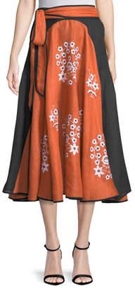 Vita Kin Spanish-Pigeon Belted Full A-Line Linen Midi Skirt