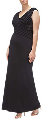 Adrianna Papell Long Pintucked Crepe Dress Plus, Black