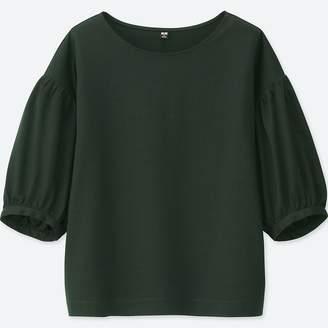 Uniqlo WOMEN Mercerized Cotton Gather Half Sleeve T