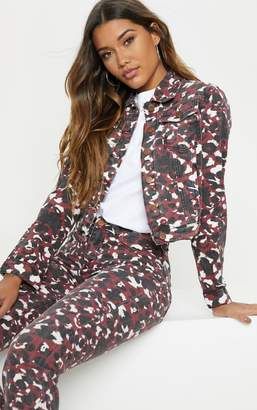 PrettyLittleThing Burgundy Blurred Leopard Cropped Denim Jacket