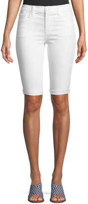 J Brand Mid-Rise Skinny Bermuda Shorts, Blanc