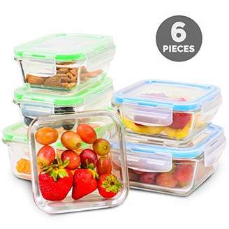 Elacra Glass Meal Prep Containers with Locking Lids [6-Piece] - Leakproof Glass Food Storage Containers for Kitchen Organization and Storage - Microwave