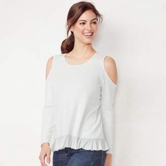 Lauren Conrad Women's Weekend Ruffle Cold-Shoulder Sweater