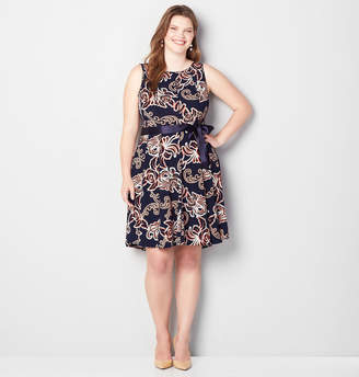 Avenue Seamed Abstract Rosebud Fit and Flare