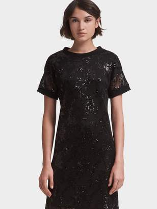 DKNY Mesh Sequined T-Shirt Dress