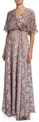 Zac Posen Floral Devore Short-Sleeve Gown with Dramatic Back