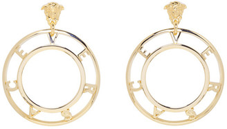 Versace Gold Logo Earrings $375 thestylecure.com