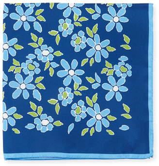 Kiton Floral-Print Silk Pocket Square