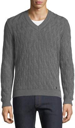 Versace Chunky-Knit V-Neck Wool Sweater