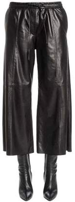 Juun.J Flared & Cropped Leather Pants