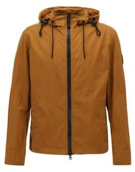 BOSS Hugo Water-repellent hooded jacket in wrinkle-effect stretch fabric 42R Brown