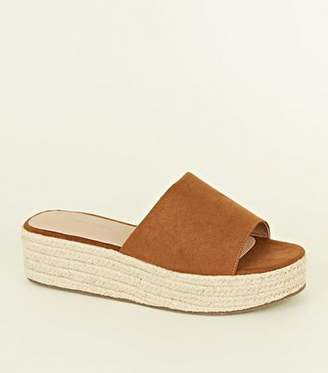 New Look Tan Suedette Espadrille Flatform Sandals
