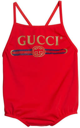 Gucci Logo One-Piece Swimsuit, Size 9-36 Months