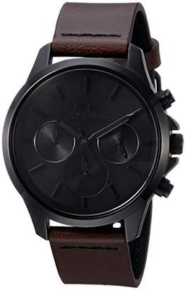 Vestal ' Heirloom Chrono Leather' Quartz Stainless Steel Dress Watch