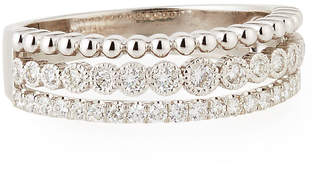 Neiman Marcus Diamonds Illusion-Stacked Three-Row Ring with Diamonds, Size 7