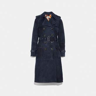 Coach Suede Trench With Printed Lining