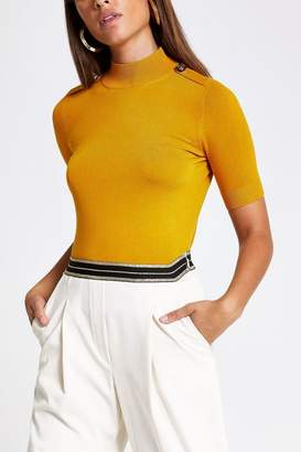River Island Womens Ochre Short Sleeve Rochelle Pearl T-Shirt - Orange