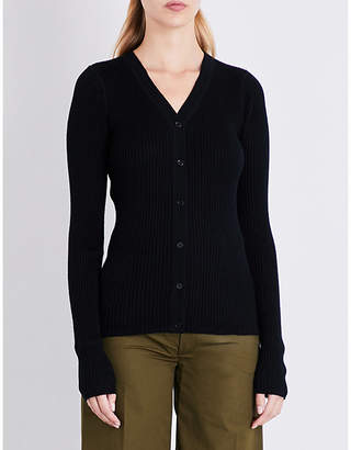 Joseph Ribbed-knit wool silk and cashmere-blend cardigan