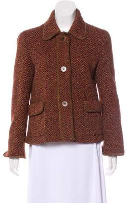 Max Mara Tweed Leather Trimmed jacket