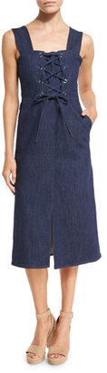 See by Chloe Sleeveless Laced Stretch Denim Midi Dress, Blue $360 thestylecure.com