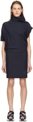 Maison Margiela Navy Asymmetric Sweatshirt Dress