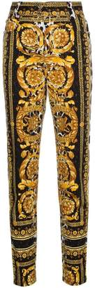 Versace high waist patterned skinny jeans