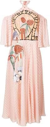 Temperley London polka dot embroidered halterneck dress