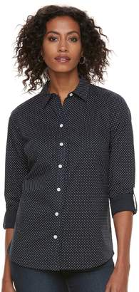 Croft & Barrow Women's Ruffle Placket Button-Down Shirt