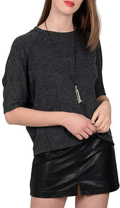 Molly Bracken Raglan-Sleeve Baseball Knit Top