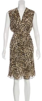 L'Agence Animal Print Knee-Length Dress