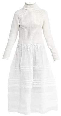 Loewe Women's Wool Rib-Knit & Organdy Sheer Midi Dress