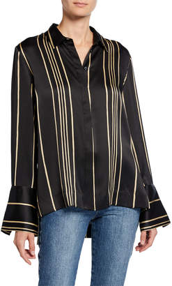 Co Striped Charmeuse Wide Cuff Shirt
