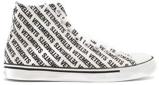 Vetements - Logo Print High Top Canvas Trainers - Womens - White Black
