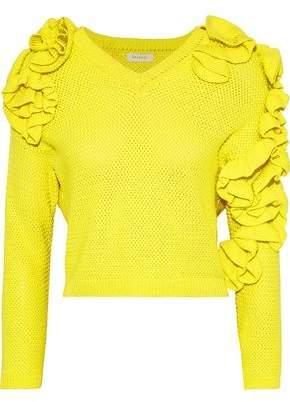 DELPOZO Ruffled Cotton Sweater