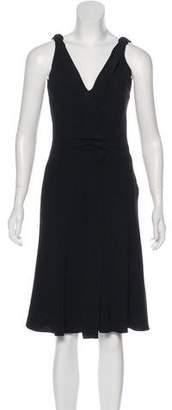 Prada Sleeveless V-Neck Midi Dress