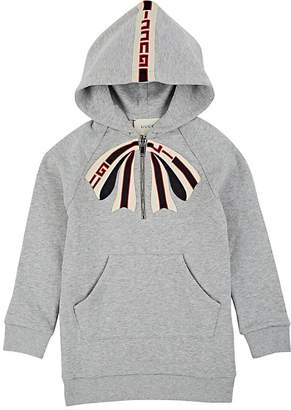 Gucci Kids' Bow-Embroidered Cotton Hooded Dress