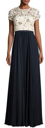 Jenny Packham Beaded Lace-Bodice Short-Sleeve Gown, Ivory/Dark Navy $4,565 thestylecure.com