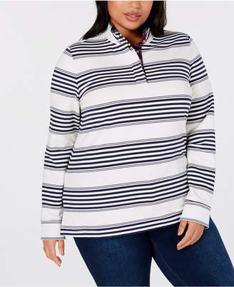 Charter Club Plus Size Striped French Terry Henley