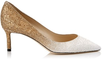 Jimmy Choo ROMY 60 White and Light Gold Coarse Glitter Degrade Pointy Toe Pumps