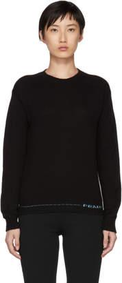 Prada Black Cashmere Logo Crewneck Sweater
