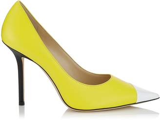 Jimmy Choo LOVE 100 Black White and Fluorescent Yellow Asymmetric Patent and Nappa Leather Pointy Toe Pump