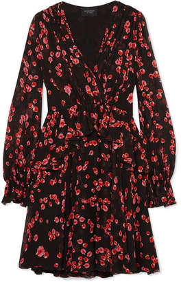 Giambattista Valli Floral-print Silk-georgette Mini Dress - Black