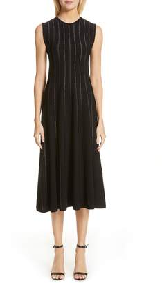 Roksanda Sparkle Stripe Knit Midi Dress