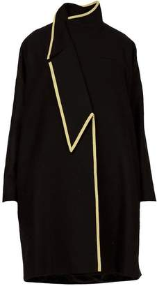 GR LONDON PARIS - Asymmetric A-Line Oversized Coat With Gold Leather Bias