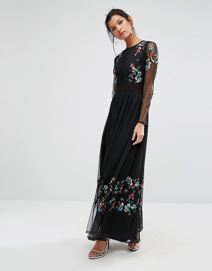 Frock and Frill Embroided Maxi Dress with Sheer Sleeves