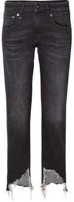 R 13 Boy Distressed Mid-rise Straight-leg Jeans - Black
