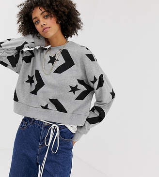 Converse Star Chevron Cropped Sweatshirt In Gray