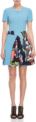 Versace Jagged Baroque Print Fit & Flare Dress