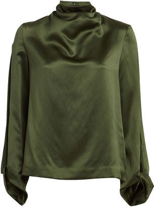 Dion Lee Carpal Twist Silk Satin Blouse